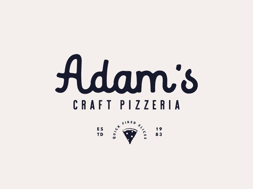 Adam's Craft Pizzeria branding design vintage inspired brand design identity design logo design type design logo identity graphic design typography branding
