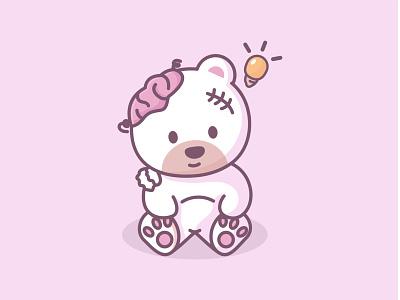Bear character logo mark brand branding icon symbol logo design logodesign geometric illustration animal bear bears panda koala heart love brain lamp