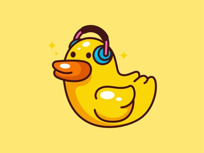 Rubber Duck Cute headphone gaming cute flat design vector illustration icon daily rubber duck bath