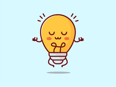 Yoga Bulb character smart geek animation illustration cartoon vector art flat simple flatdesign icon bulb lamp blub yoga cute