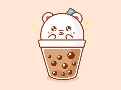 Boba Bear boba tea boba bear boba fett bear boba animal kawaii vector mascot character cute illustration