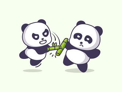 Fight Panda vs kawaii kid angry playfull cute eco fight chinese china bear children diaper baby panda illustration bamboo