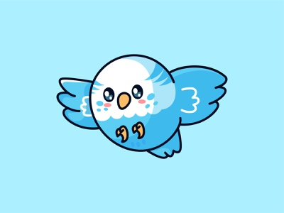 Blue Budgie Cute branding logo animal mascot jaysx kawaii illustration parrot bird blue bird character cute budgie blue
