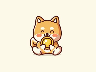Golden Doge adorable shiba branding golden dogecoin doge coin dog puppy cute kawaii logo character cartoon concept finance money currency internet crypto