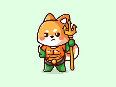 Aqua Doge dog logo cartoon illustration chibi aquaman sea coin crypto shiba inu shiba adorable dog doge branding animal kawaii mascot logo character cute