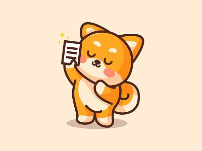Shiba with reports jaysx1 wallet tax report digital dogecoin doge coin shibainu shiba adorable branding kawaii animal mascot logo character cute illustration