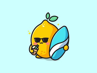 Lemon surf drink boba jaysx1 yellow kawaii logo boba fresh drink surf funny icon sticker sweet vector lemon fuit mascot character illustration cute