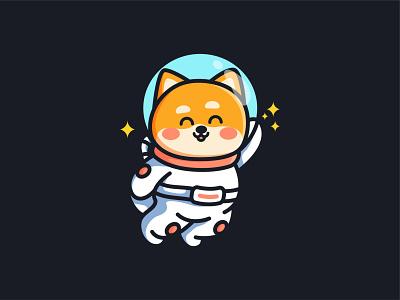 Astro Shiba finance crypto astrology dog shiba dogecoin coin doge astronout space branding design animal kawaii mascot jaysx1 logo character cute illustration