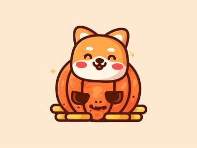 Shiba Pumkin Coin halloween jacklantern crypto coin pumpkin trick or treat dog logo shiba inu animal pose dog illustration kawaii cute dog doge happy dog shiba illustration logo animal
