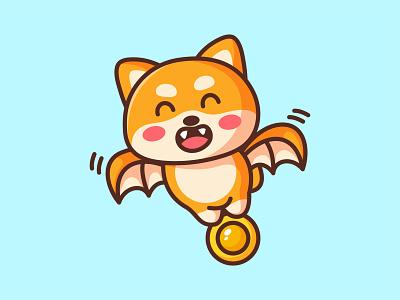 Shibat up fly shiba inu dog crypto coin dogecoin doge bat shiba halloween jaysx1 animal kawaii mascot logo character illustration cute