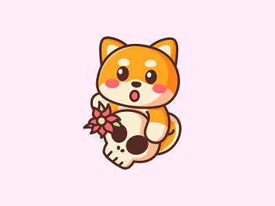 Shiba With Skull shiba inu dog crypto cartoon dogecoin doge halloween shiba jaysx1 branding design animal kawaii mascot logo character illustration cute