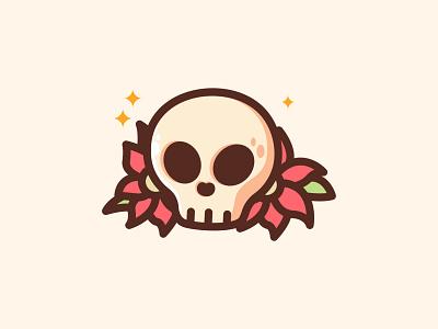 Skull Flowers scary horror japan sweet halloween flowers heart cartoon print eyes creepy skull jaysx1 design mascot illustration character logo kawaii cute