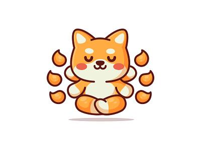 Shiba Meditation yoga meditation monk doge coin doge shiba inu adorable jaysx1 shiba design branding animal kawaii logo mascot character illustration cute