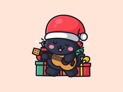 Cute cat playing guitar jaysx cartoon guitar music pet cat design animal kawaii mascot logo character illustration cute