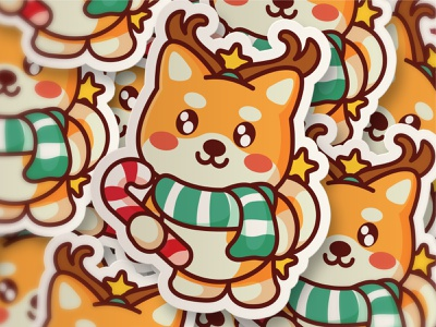 Shiba Christmas deer candy shiba inu shiba christmas jaysx gold crypto token nft doge dog animal kawaii mascot logo character illustration cute