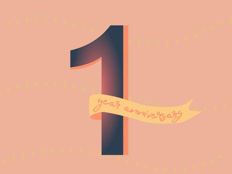 1 Year Design Anniversary anniversary gradient web vector ui design branding typography flat illustration