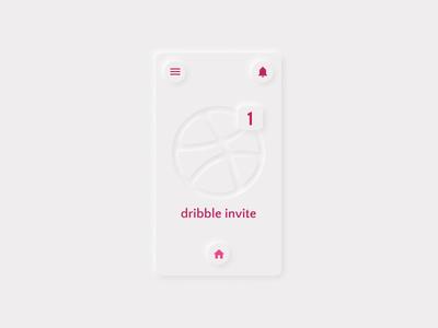 Dribble Invitation productdesign product design 2d minimalistic simple neumorphism neumorphic neumorphismdesign interface hello dribble invitation invite