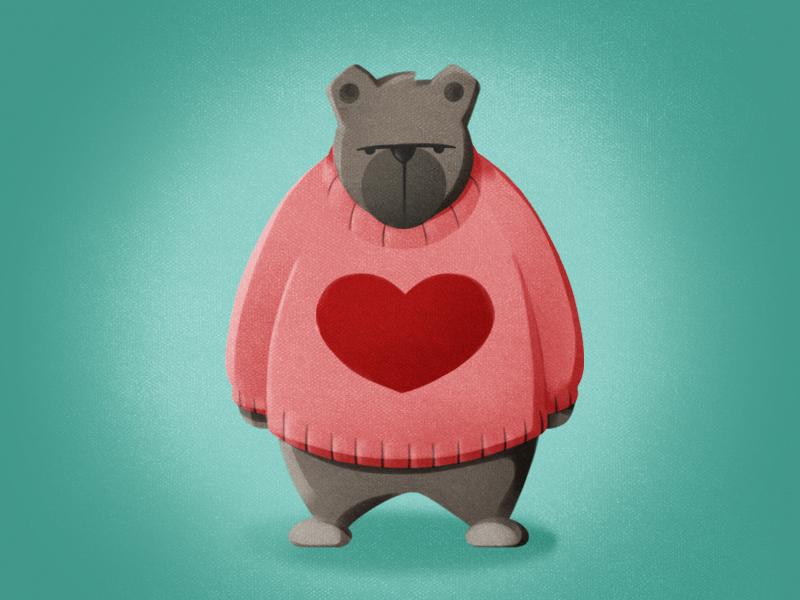 Teddy bear animal teddy bear valentines 2d character design digital illustration