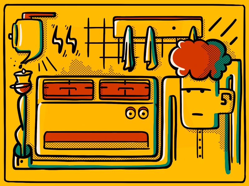 Tea Time doodle sketch digital colors solid illustration