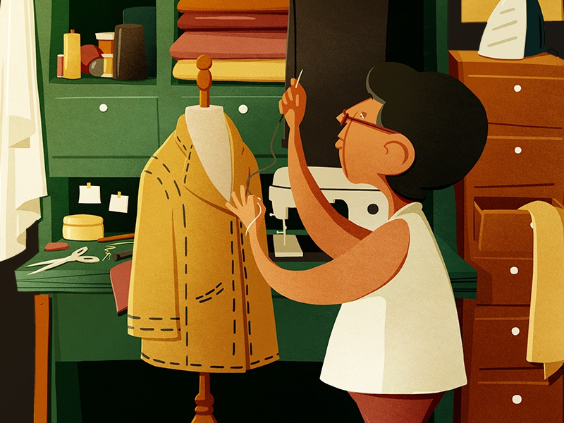 Tailor cartooning animation 2d character design illustration