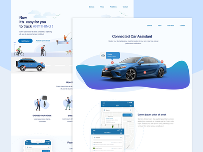 Connected Cars vector ux illustration layout landing page app