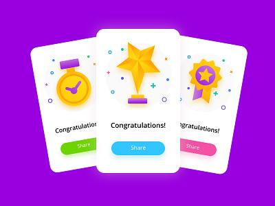 Congrats! creative concept scratch card giftcard card trophy congrats congratulations