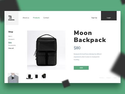 Moon Backpack ux backpack web color design ui