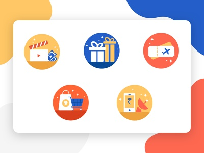 Vouchers Icons icons voucher design orange yellow blue iconography icon app illustration vector billpayments shopping gifts movie vouchers