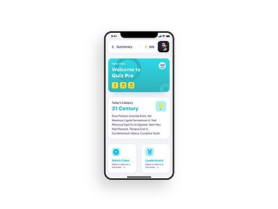 Quiztionary App (Quiz APP) game engagement rewards quiz app leaderboard minimal app illustration uxdesign ux uidesign design concept ui design