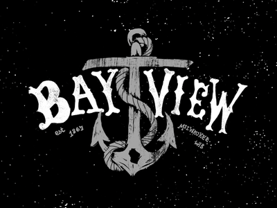 Bay View tshirt lettering hand lettering milwaukee wisconsin anchor sea
