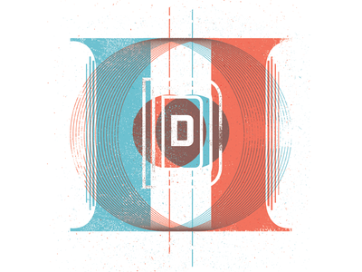 Dioptic D lettering drop cap handmade type typography distress color