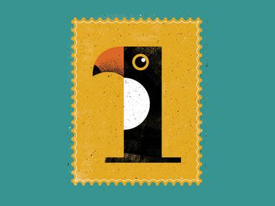 Numeral 1 lettering drop cap handmade screenprinting texture distress one birds