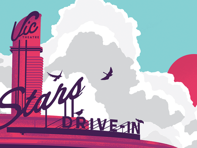 Stars Vic Theatre Gig Poster gig poster illustration 80s screen print poster vector color birds drive-in sun
