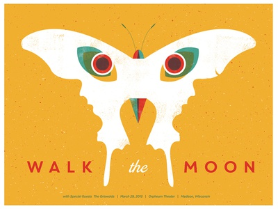 Walk the Moon gig poster illustration negative space color overprint walk the moon butterfly owl faces catharsis screen print poster