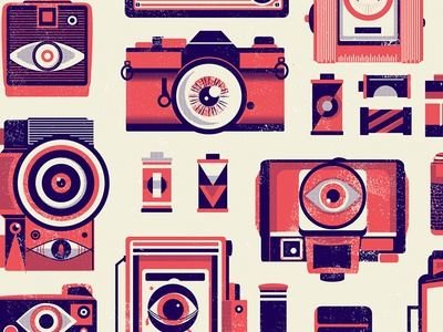Camera Obscura gig poster illustration camera eye eyeball photography photo screen printing halftone texture catharsis