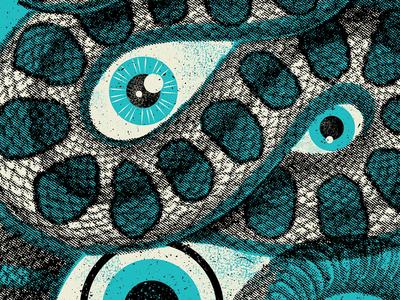 Snake Eyes gig poster illustration snake eye eyeball halftone texture poster screen printing blue catharsis