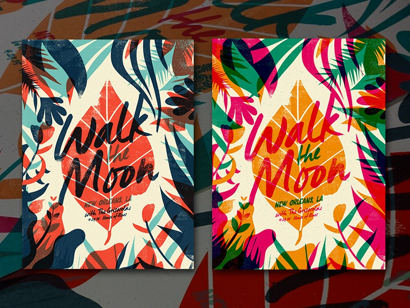 Walk the Moon New Orleans  gig poster illustration color overprint nature leaves catharsis flora print poster
