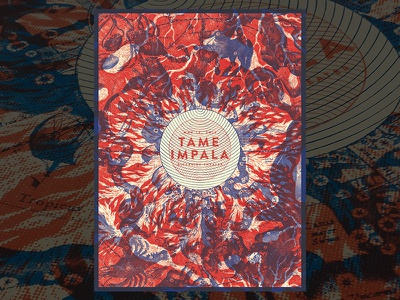 Tame Impala #2 catharsis tame impala gig poster screen print psychedelic shapes overlay design collage