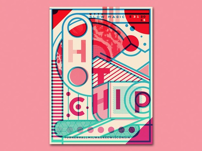 Hot Chip Poster Variant 1.02 experimental catharsis screen printing gradient linework geometric space thick lines typography gig posters hot chip