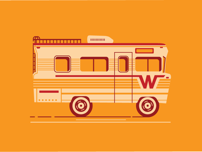 Winnebago print simple illustration catharsis vehicle orange design transportation automotive travel winnebago