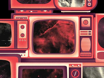 TV Stack nebula space television texture tv design print music illustration