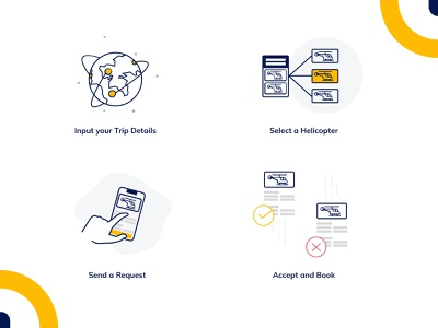 Book a Flight - Illustration Pack empty state design vector send heli booking accept travel trip request helicopter flight book illustration ui