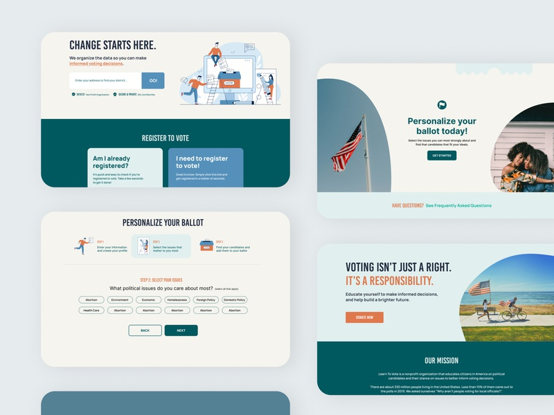 Learn to Vote wesbite website design minimal dashboard branding illustration website web ux ui