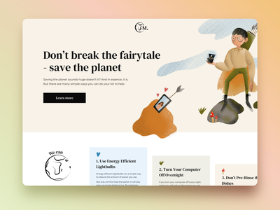 Landing Page - Save the Planet website illustrator typography vector fairytale color ux ui procreate craft pallet save the planet save earth illustration hero image landing design