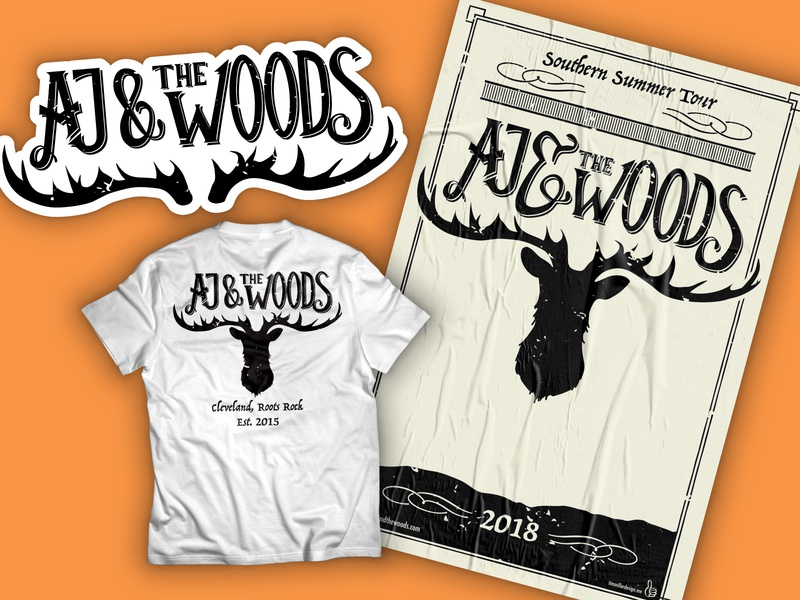 Aj  & The Woods Band Branding and Merch band independent music t-shirt design sticker design band art branding hand lettering alt country identity logo band logo gig poster band merch