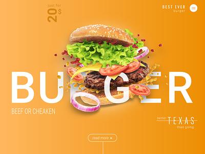 Burger hero landing burger eat design web