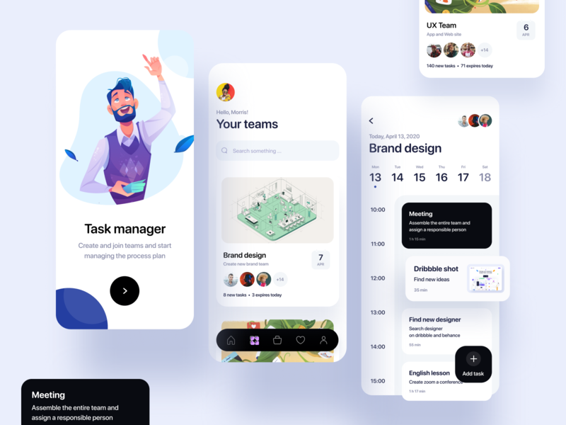 Manager app profile team manager planning illustration concept app uxdesign dailyui clean design ui
