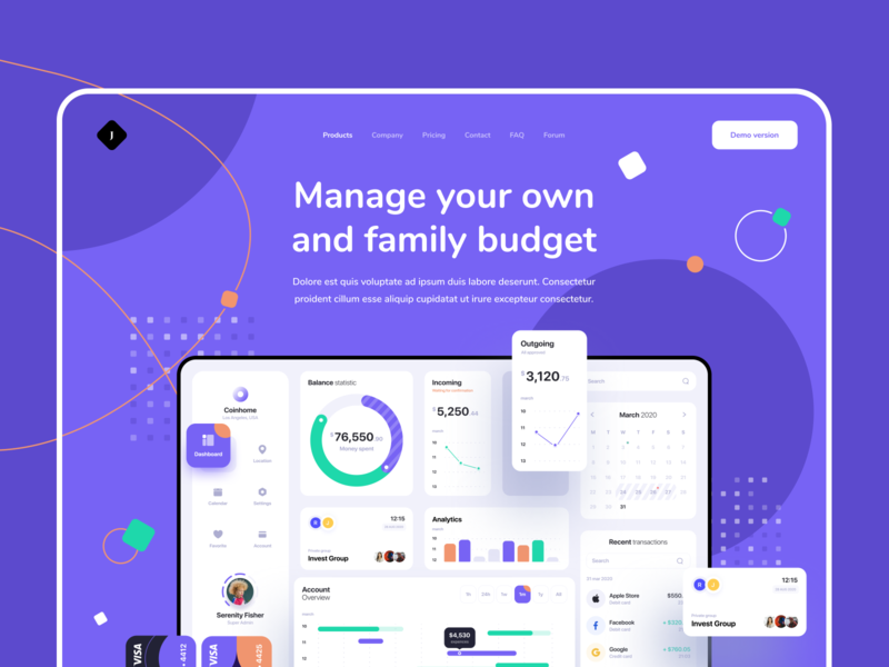 J Group Landing page user experience manage budget product dashboard landing page user interface web uxdesign ux website concept dailyui flat clean ui design