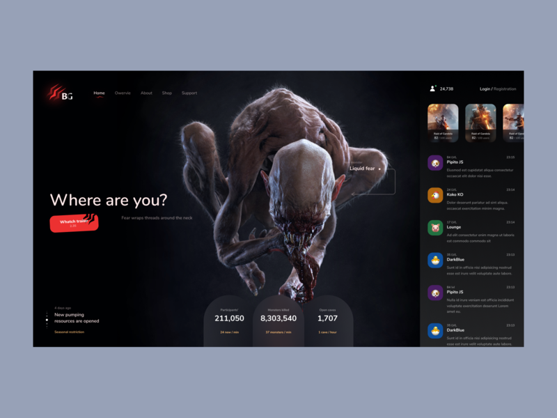 Game Center profile chat horror game user inteface web website concept ux dailyui clean ui design