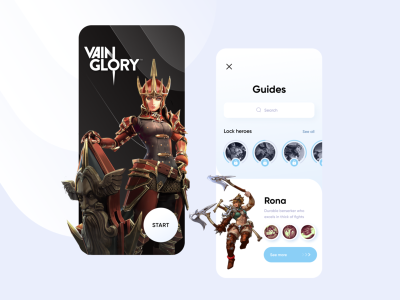 Vain Glory Concept heroes search guides user inteface uxdesign ux login sign in concept game dev game clean ui design